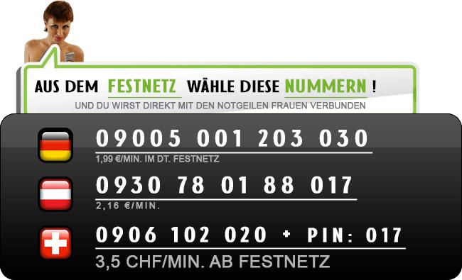Direkt Telefonsex Kontakte zu deutschen Hausfrauen
